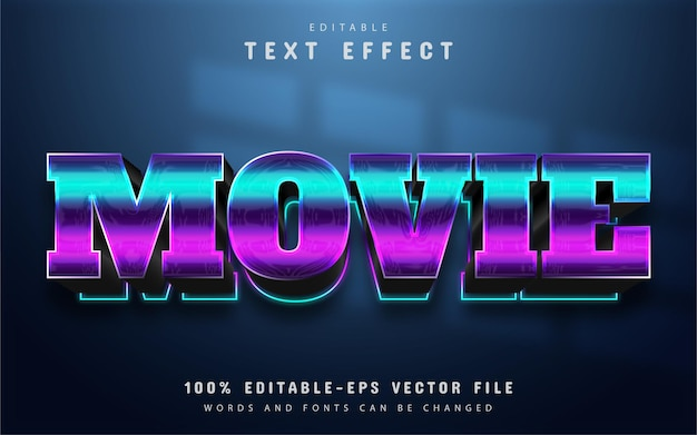Texto do filme, efeito de texto 3d editável com gradiente