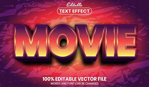 Texto do filme, efeito de texto editável de estilo de fonte