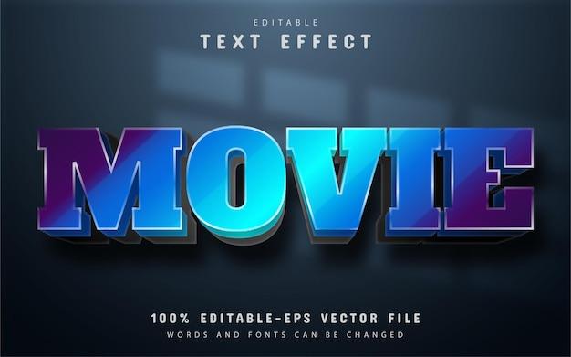 Texto do filme, efeito de texto gradiente azul 3d editável