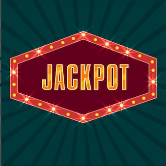 Texto do jackpot no quadro das luzes do letreiro, fundo dos raios verdes retros.