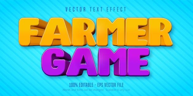 Texto do jogo do fazendeiro, efeito de texto editável no estilo desenho animado