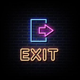Texto do letreiro de néon de saída