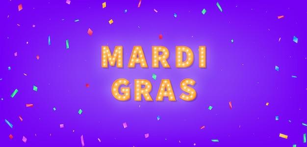 Texto do letreiro mardi gras. texto da lâmpada para o mardi gras.