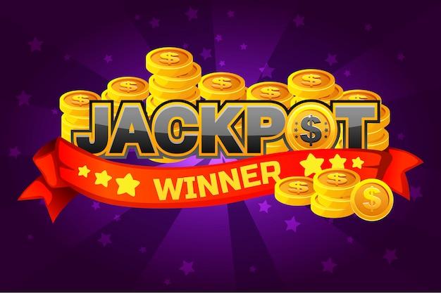 Texto do logotipo jackpot e moedas de ouro, para o elemento de jogo de interface do usuário