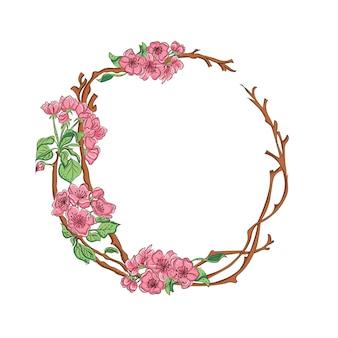 Texto do modelo do desenho da mão cor-de-rosa da flor da cereja