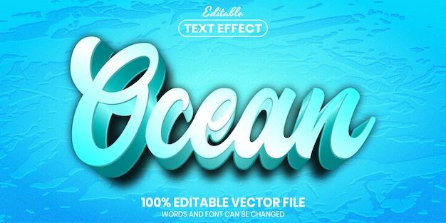 Texto do oceano, efeito de texto editável de estilo de fonte