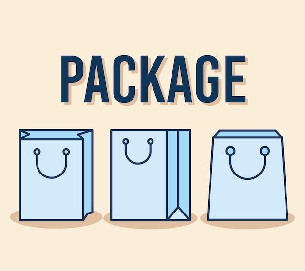 Texto do pacote e conjunto de ícones de bolsas