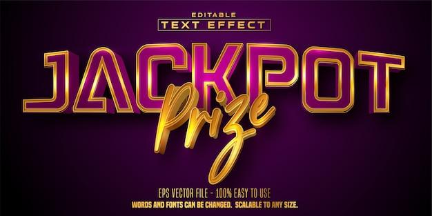 Texto do prêmio do jackpot, efeito de texto editável de estilo cassino de cor dourada