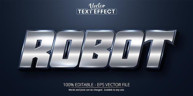 Texto do robô com efeito de texto editável de estilo prata brilhante