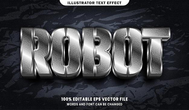Texto do robô, efeito de texto editável estilo fonte prata