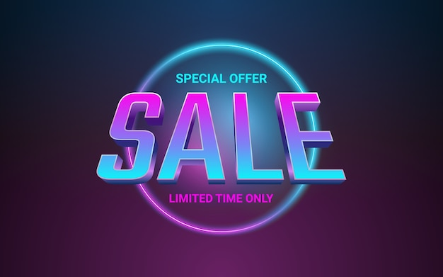 Texto do rótulo de venda 3d em efeito de cor de luz de néon de círculo brilhante
