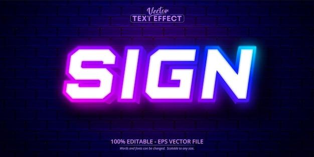 Texto do sinal, efeito de texto editável estilo neon
