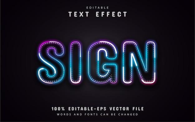 Texto do sinal, efeito de texto estilo neon
