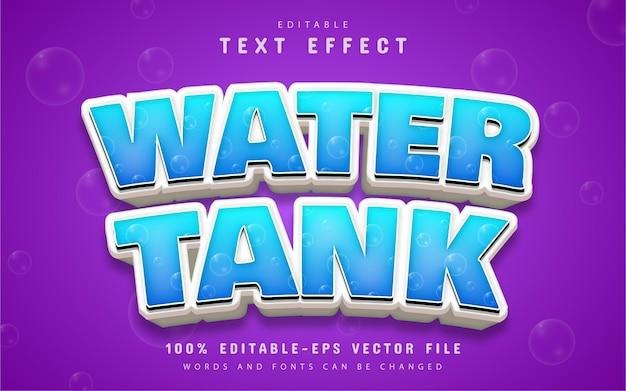 Texto do tanque de água, efeito de texto de estilo de desenho animado