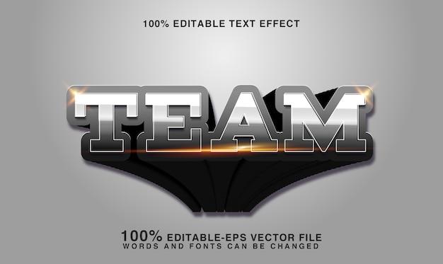 Texto do time prata, efeito de texto editável de estilo esportivo
