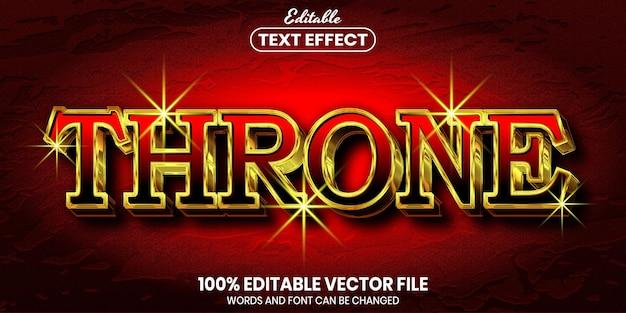 Texto do trono, efeito de texto editável de estilo de fonte