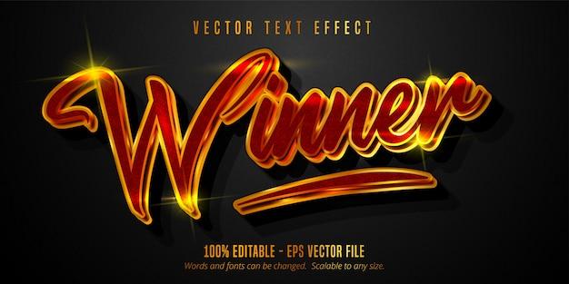 Texto do vencedor, ouro brilhante e efeito de texto editável de cor vermelha