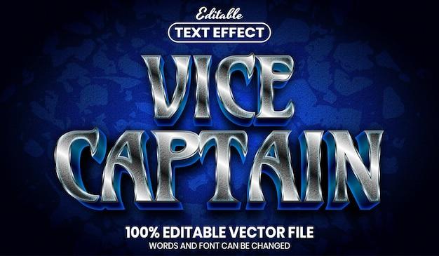 Texto do vice-capitão, efeito de texto editável de estilo de fonte