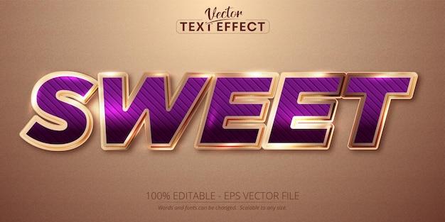 Texto doce, efeito de texto editável de estilo cor ouro rosa brilhante
