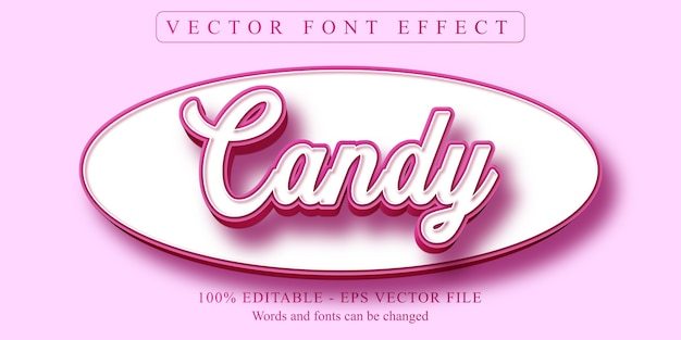 Texto doce, efeito de texto editável estilo desenho animado