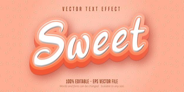 Texto doce, efeito de texto editável no estilo desenho animado