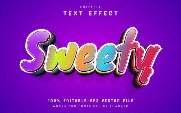 Texto doce, efeito de texto estilo desenho animado