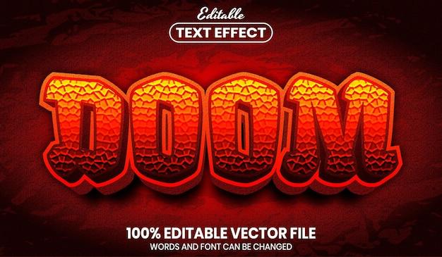 Texto doom, efeito de texto editável de estilo de fonte