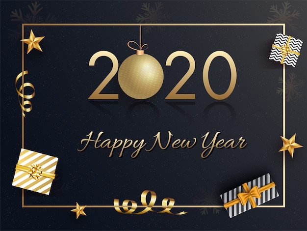 Texto dourado 2020 com caixas de presente de bugiganga e vista superior penduradas decoradas em preto para comemoração de feliz ano novo.