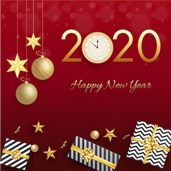 Texto dourado 2020 com relógio, enfeites de suspensão, estrelas e caixas de presente em vermelho para comemoração de feliz ano novo.