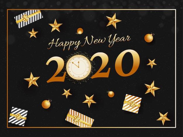 Texto dourado 2020 feliz ano novo com efeito de relógio brilho, enfeites, estrelas e caixas de presente decoradas em preto.