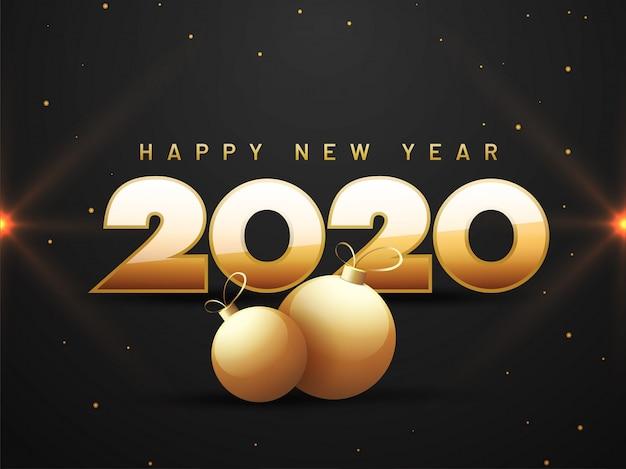 Texto dourado 2020 feliz ano novo e enfeites no cartão preto.