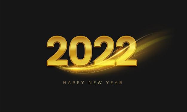 Texto dourado 2022 feliz ano novo com onda de partículas em fundo preto.