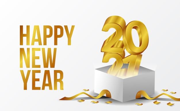 Texto dourado 3d feliz ano novo 2021 com caixa branca e cartão de fita dourada com fundo branco