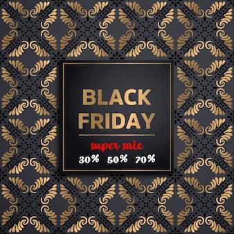 Texto dourado brilhante black friday em fundo escuro