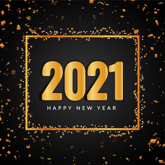 Texto dourado de feliz ano novo 2021