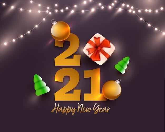 Texto dourado de feliz ano novo de 2021 com caixa de presente realista