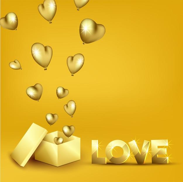 Texto dourado do amor 3d com efeito da luz e balões do coração estalando para fora da caixa de presente da surpresa no amarelo.