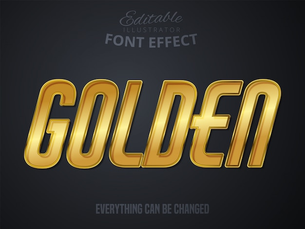 Texto dourado, efeito de fonte editável
