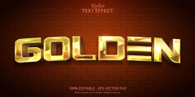 Texto dourado, efeito de texto editável de estilo dourado brilhante