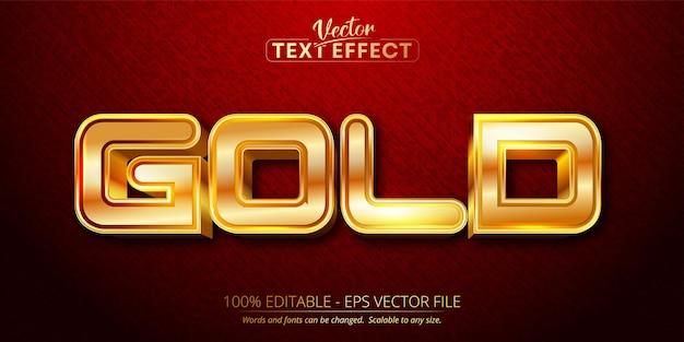 Texto dourado, efeito de texto editável estilo ouro brilhante