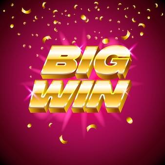 Texto dourado para máquinas de cassino, jogos de azar, sucesso, prêmio, vencedor da sorte