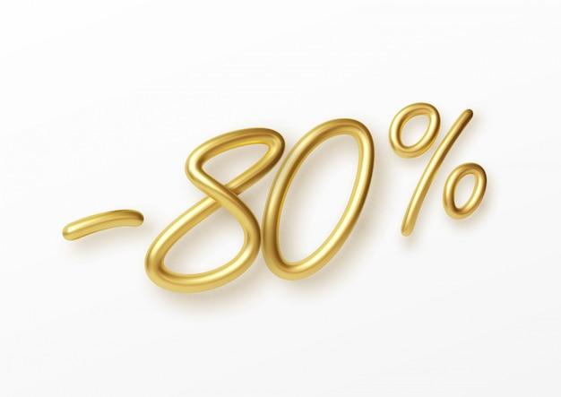 Texto dourado realista número de 80% de desconto