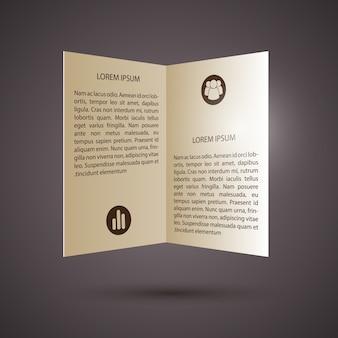 Texto e ícones do folheto bifold