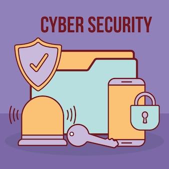 Texto e pasta de segurança cibernética com um cadeado e conjunto de ícones de segurança cibernética