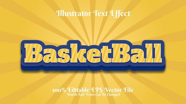 Texto editável com efeito 3d de basquete premium