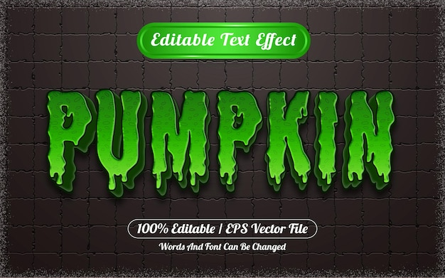 Texto editável com efeito de abóbora e tema de halloween