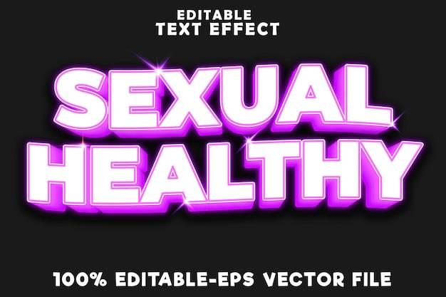 Texto editável com efeito de dia sexual saudável com estilo neon moderno