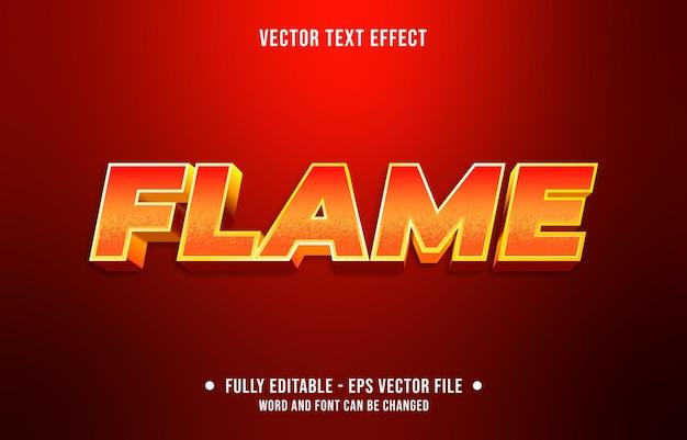 Texto editável com efeito de gradiente de chama com cor vermelha e laranja