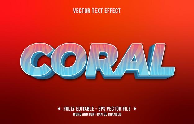 Texto editável com efeito de gradiente de estilo coral com padrão de planta marinha e cor azul claro e vermelho