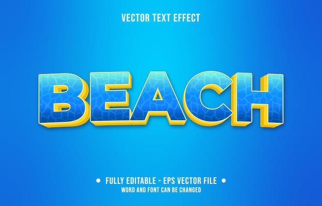 Texto editável com efeito de gradiente de estilo praia com padrão de superfície de água e cor azul amarelo